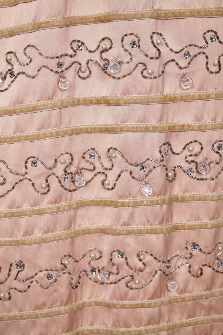 Brown Ceil Chapman 1950s Peach Silk Dress With Beading and Velvet Ribbon Appliqué For Sale