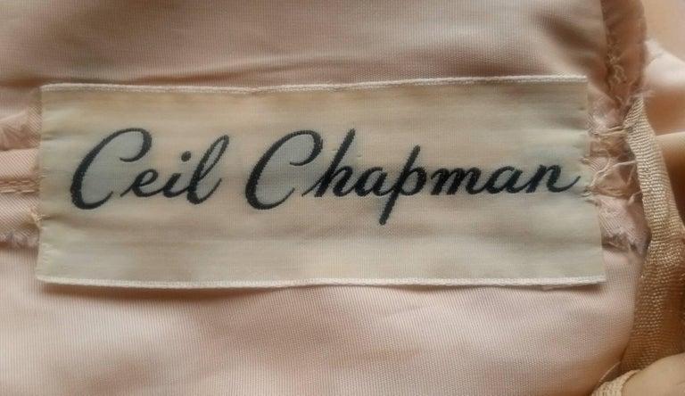 Women's Ceil Chapman 1950s Peach Silk Dress With Beading and Velvet Ribbon Appliqué For Sale