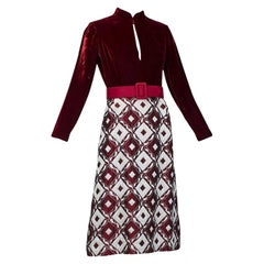 Ceil Chapman Burgundy Velvet and Quilted Brocade Shirtwaist Dress - S, 1960s
