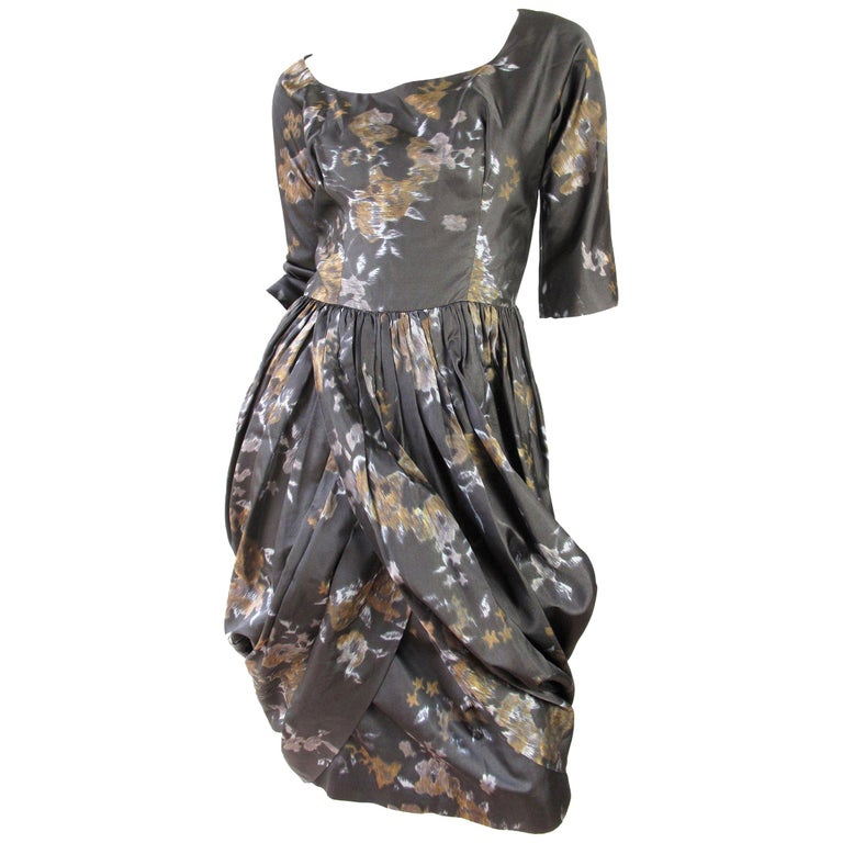 Ceil Chapman Floral Silk Dress, 1950s  For Sale