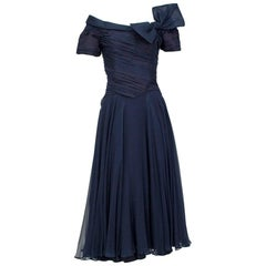 Ceil Chapman Navy Chiffon Portrait Collar Dress with Shoulder Bow - Med, 1950s
