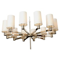 Ceiling Fixture Mid-Century Modern Architectural Polished Nickel, Italy, 1950s