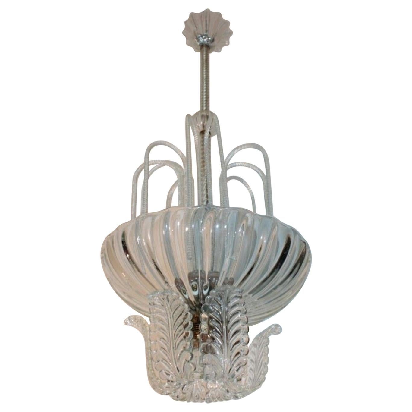 Ceiling Lamp 1940s Barovier & Toso Murano glass