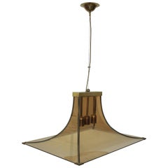 Ceiling Lamp 1960s Curved Glass by Fontana Arte
