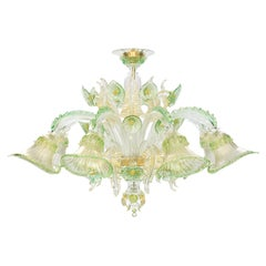 Ceiling Lamp 8 Lights, Crystal, Green, Gold Artistic Murano Glass by Multiforme