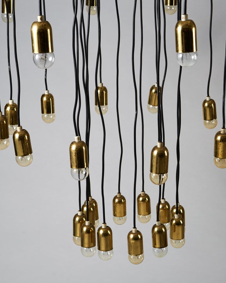 Brass Ceiling Lamp, Anonymous, Sweden, 1950s For Sale