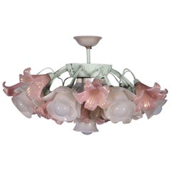 Ceiling Lamp Blown Glass Metal, Italy, 1950s