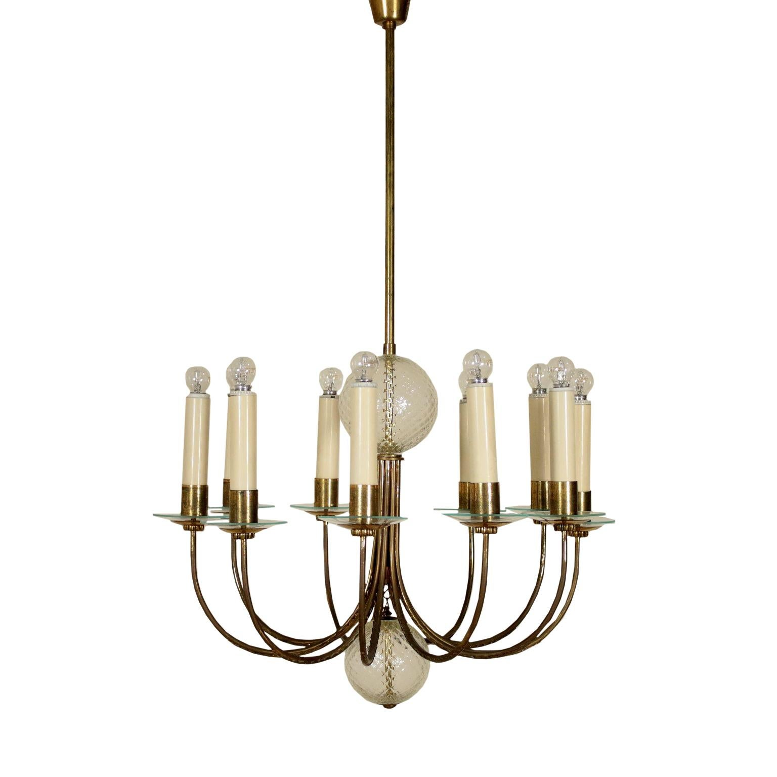 Ceiling Lamp Brass Glass Vintage, Italy, 1940s