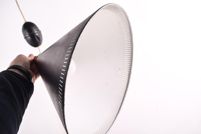 Danish Ceiling Lamp by Bent Karlby for Lyfa, Black Cone, 1960s For Sale