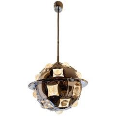 Ceiling Lamp by Oscar Torlasco Chromed Metal Glass Vintage, Italy, 1960s