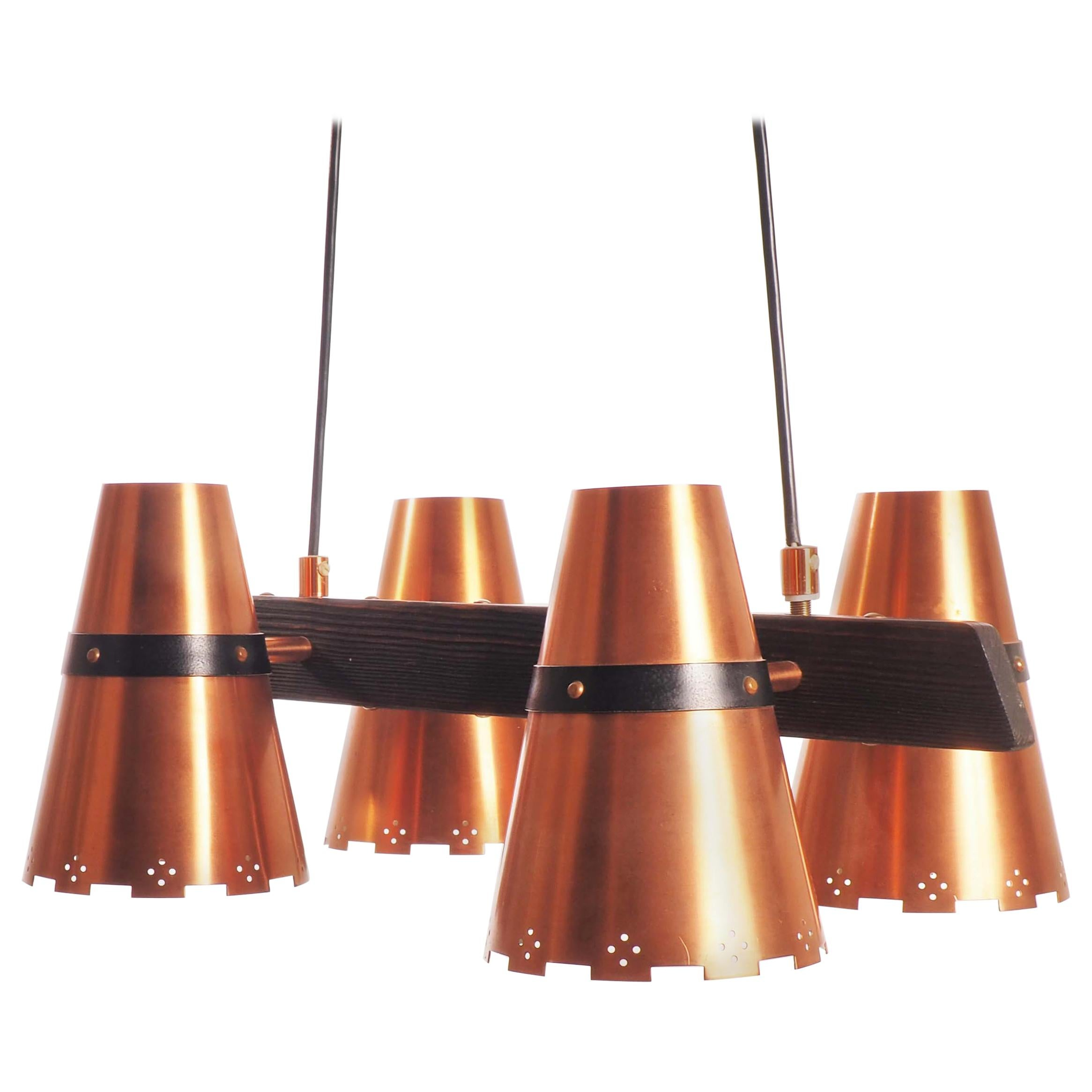 Ceiling Lamp in copper and dark wood, made in Sweden during, 1960s