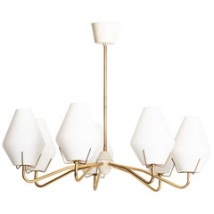 Ceiling Lamp in Brass and Opaline Glass Produced by ASEA in Sweden