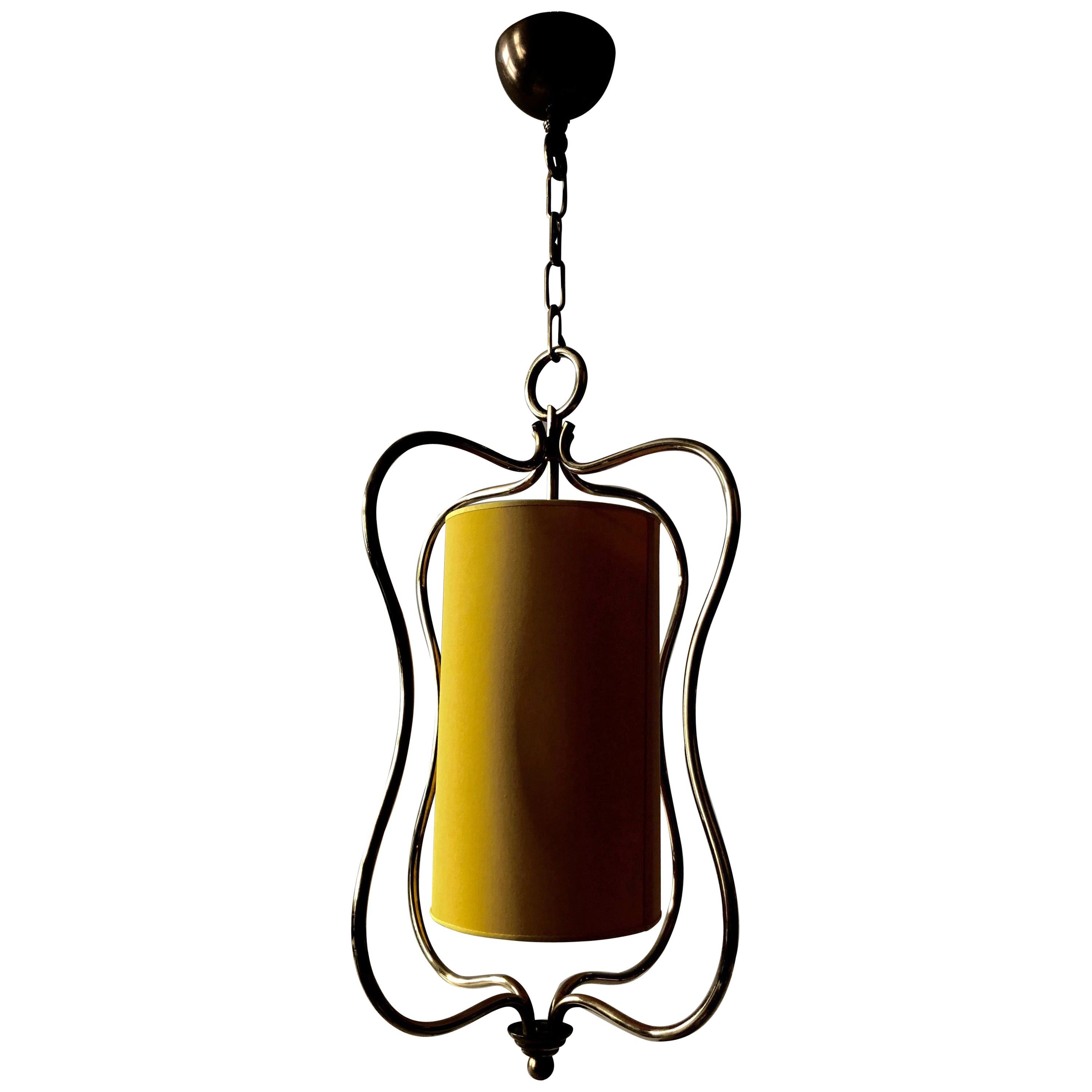 Ceiling Lamp in Brass with Yellow Shade in a Style from Hollywood Regency