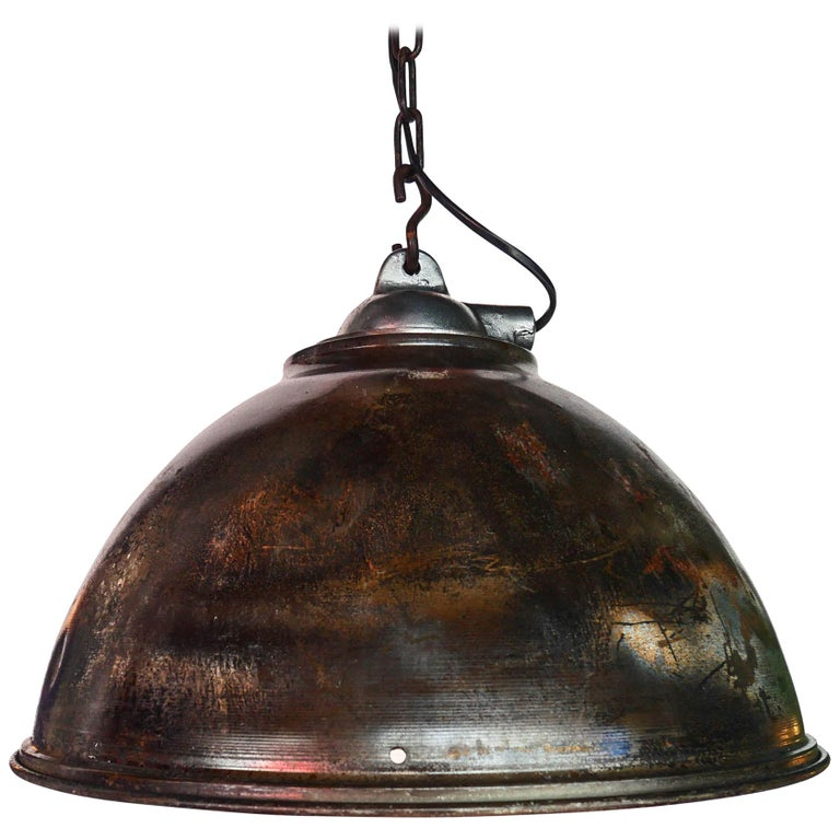 Ceiling Lamp in Steel, Natural Patina, France, circa 1950-1959 For Sale