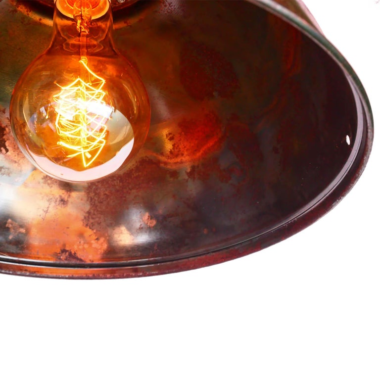 Ceiling Lamp in Steel, Natural Patina, France, circa 1950-1959 For Sale 4