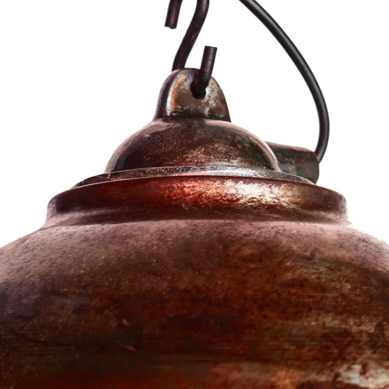 Ceiling Lamp in Steel, Natural Patina, France, circa 1950-1959 For Sale 5