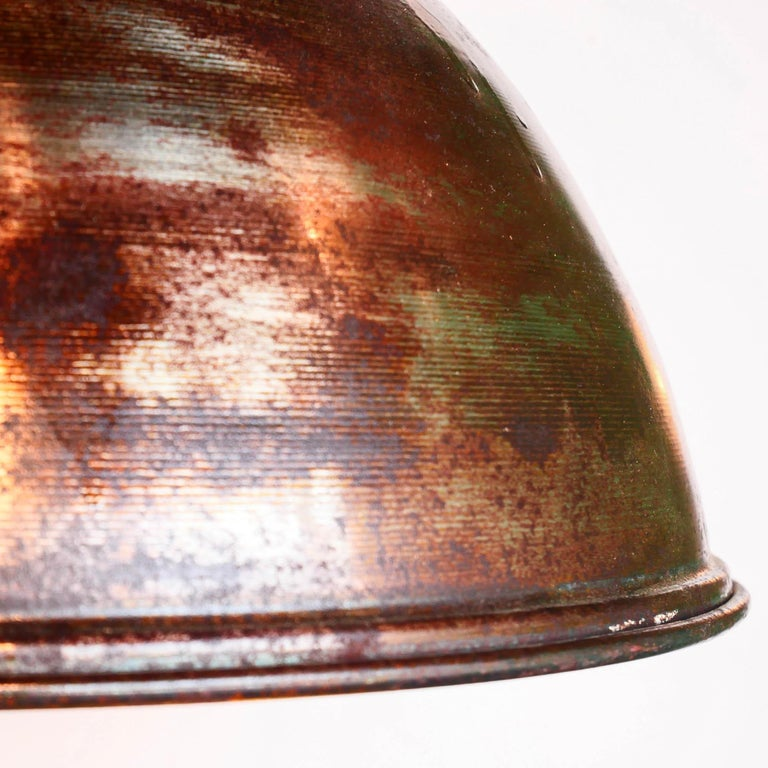 Ceiling Lamp in Steel, Natural Patina, France, circa 1950-1959 For Sale 6