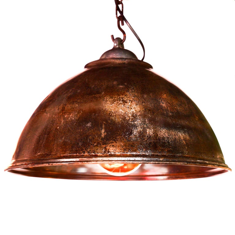Old ceiling lamp in steel, natural patina, cleaned and varnished. Socket holder in cast aluminium (stripped and polished). Fully rewired. (Each lamp have it own patina, but they remains similars).