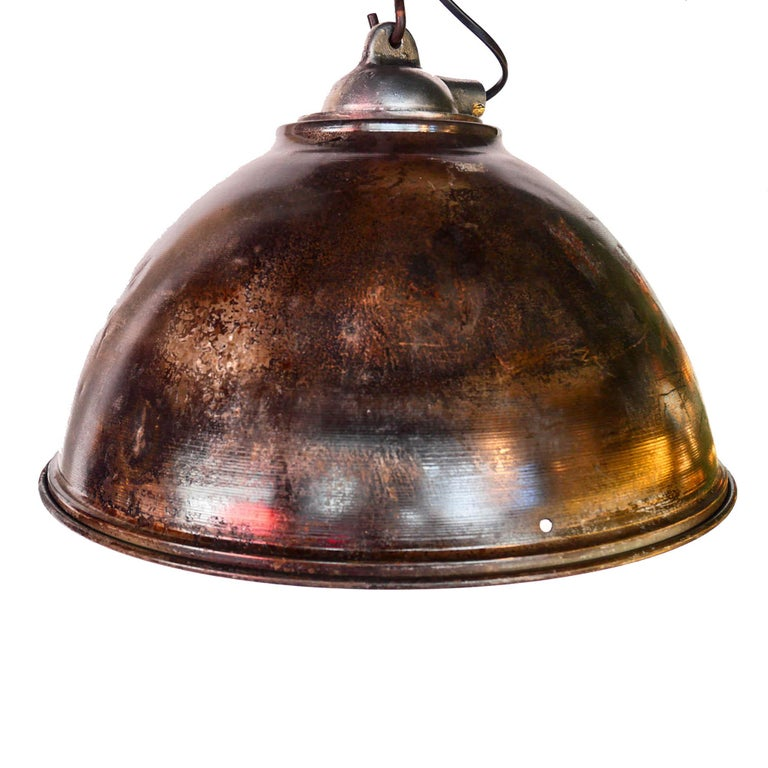Industrial Ceiling Lamp in Steel, Natural Patina, France, circa 1950-1959 For Sale