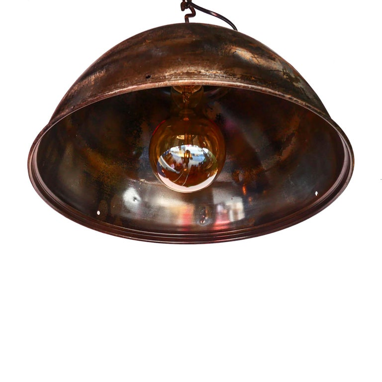 European Ceiling Lamp in Steel, Natural Patina, France, circa 1950-1959 For Sale