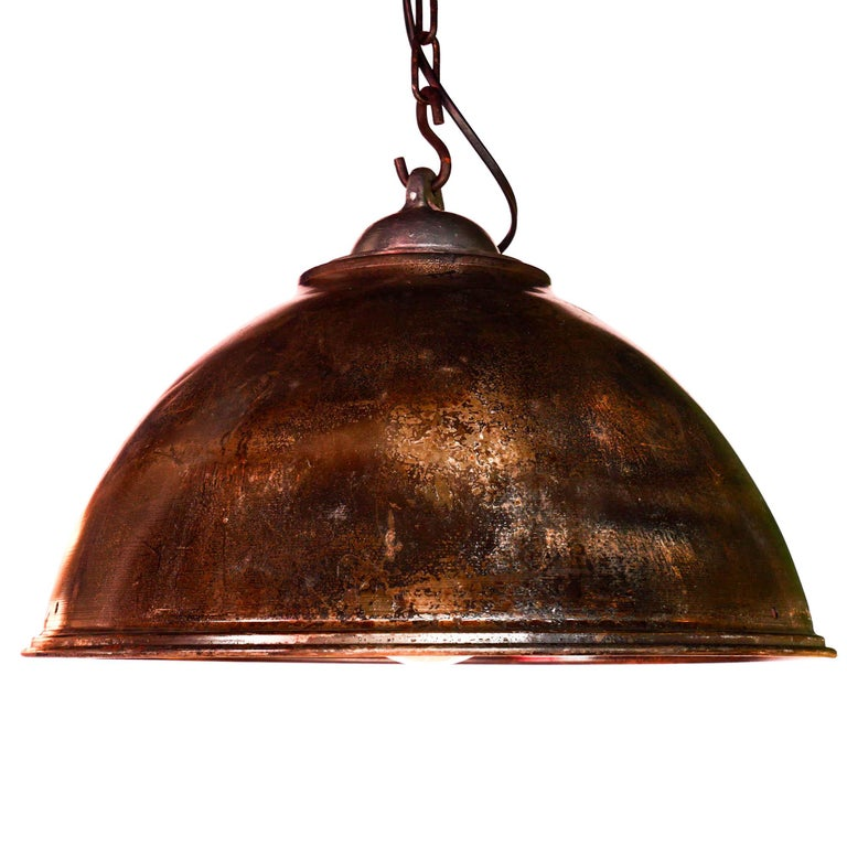 Polished Ceiling Lamp in Steel, Natural Patina, France, circa 1950-1959 For Sale