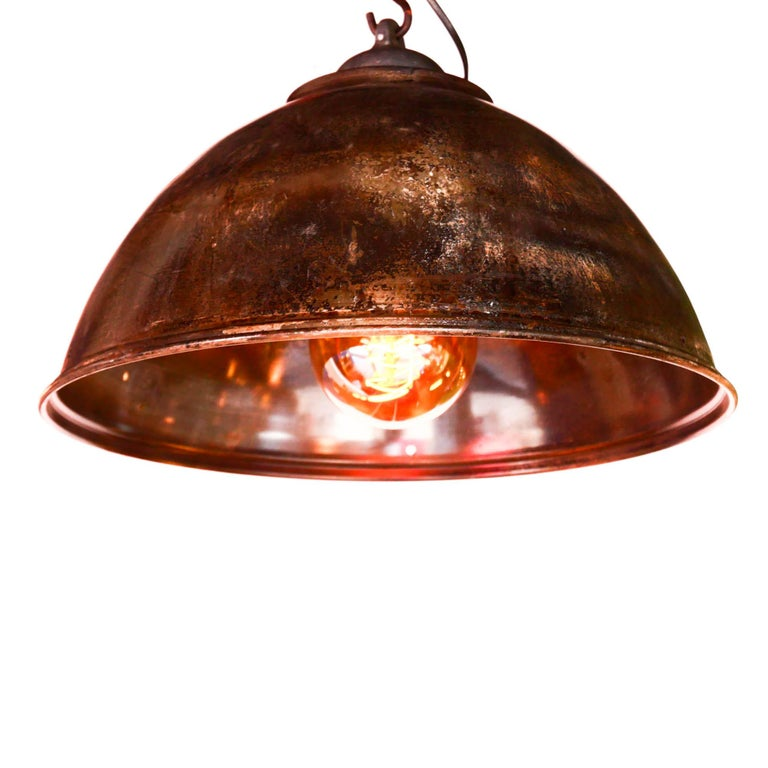 Ceiling Lamp in Steel, Natural Patina, France, circa 1950-1959 In Good Condition For Sale In Saint Ouen, FR