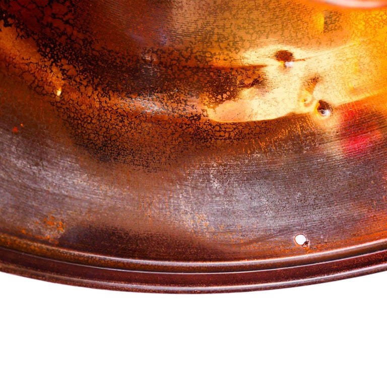 Mid-20th Century Ceiling Lamp in Steel, Natural Patina, France, circa 1950-1959 For Sale