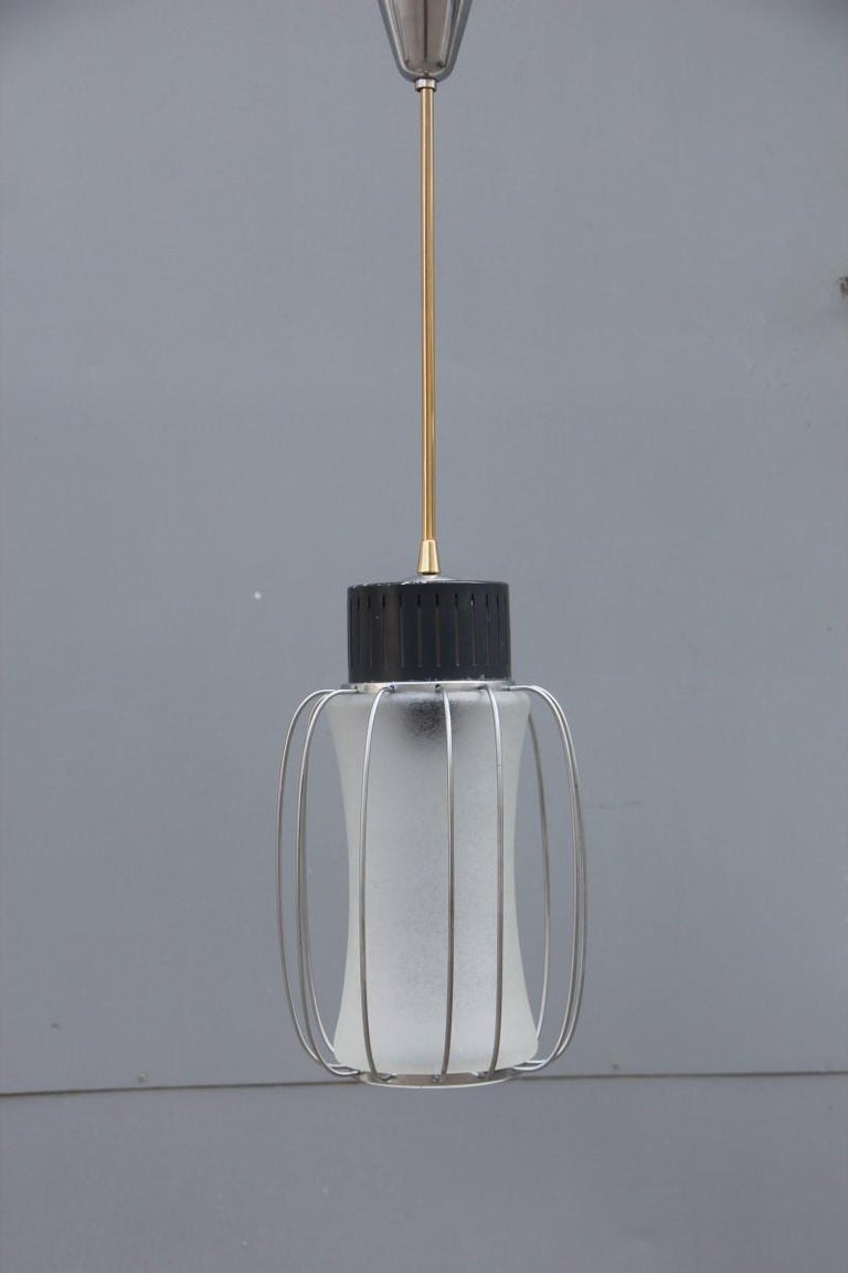 Ceiling lamp lantern minimal design round black steel Italian design, 1960 glass.