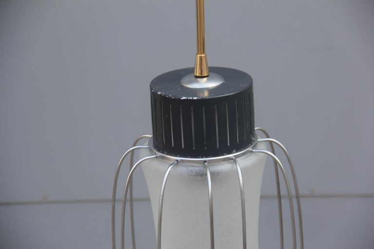 Ceiling Lamp Lantern Minimal Design Round Black Steel Italian Design, 1960 Glass In Good Condition For Sale In Palermo, Sicily