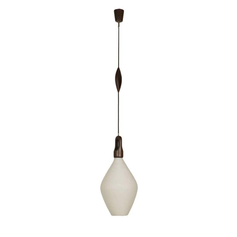 Ceiling Lamp Opaline Glass Teak Wood Vintage, Italy, 1960s