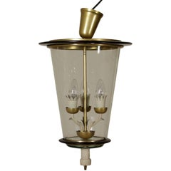 Ceiling Lamp Style of Pietro Chiesa Brass Glass Vintage, Italy, 1940s