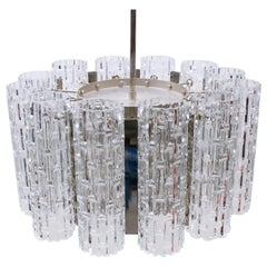 Ceiling Lamp with 12 Textured Glass Shades, Kaiser Leuchten Germany, 1960s