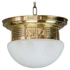 Ceiling Lamp with Opal Glass in the Style of Jugendstil