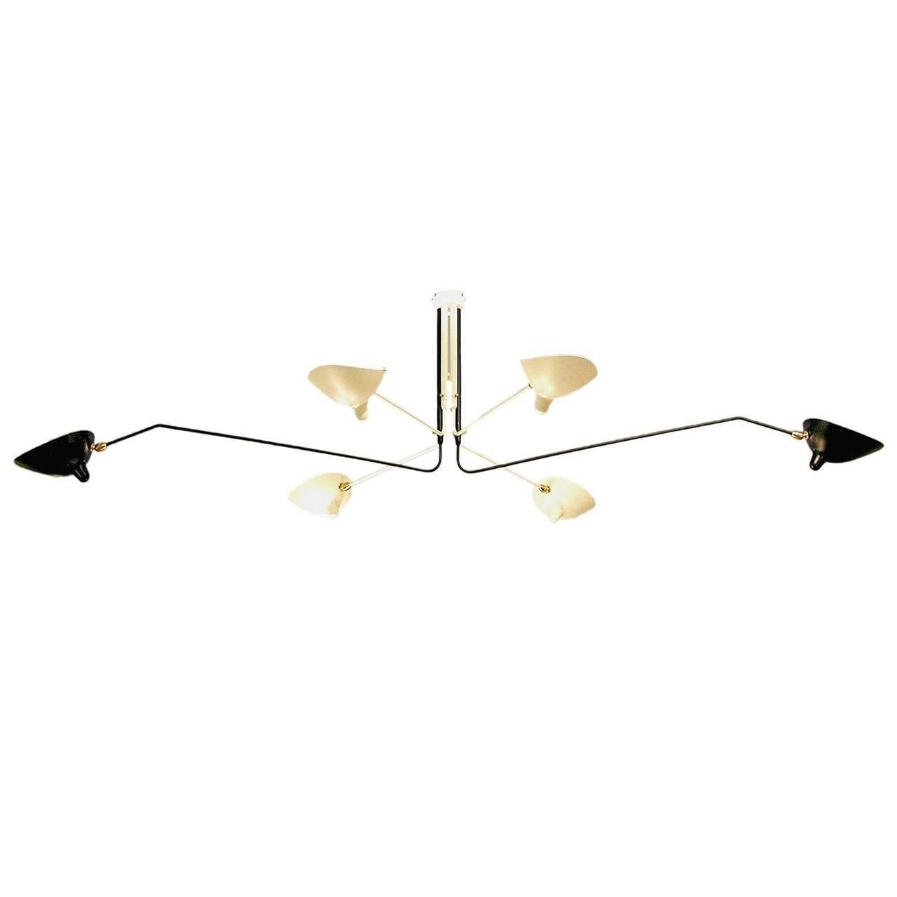 Ceiling Lamp with Six Rotating Arms in Black and White by Serge Mouille