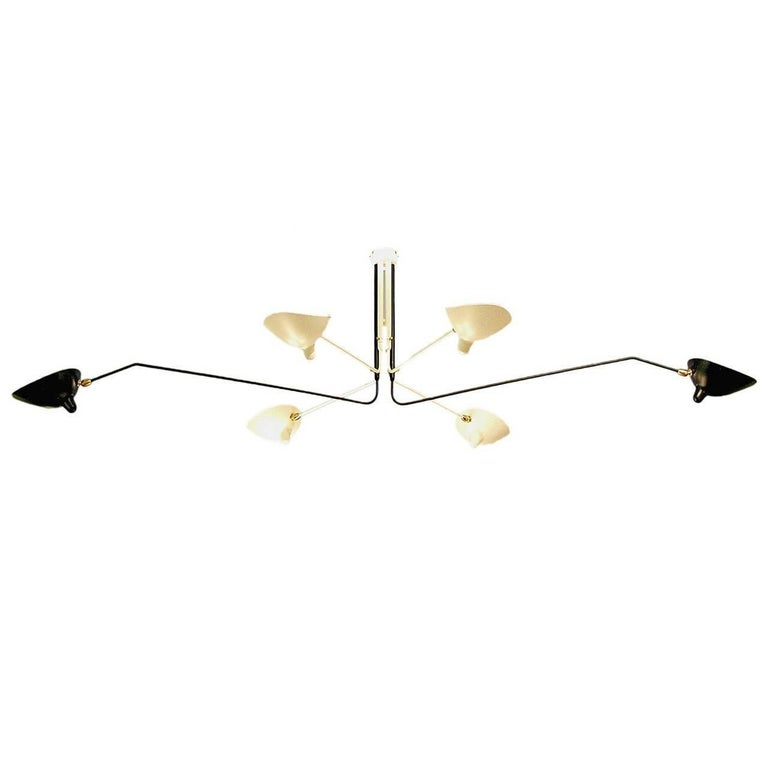 Ceiling Lamp with Six Rotating Arms in Black and White by Serge Mouille For Sale