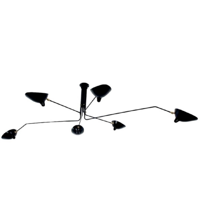 Ceiling Lamp with Six Rotating Arms in Black by Serge Mouille