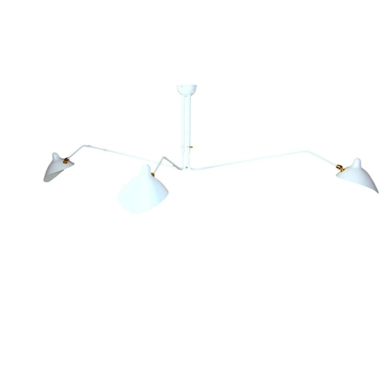 Mid-Century Modern Ceiling Lamp with Three Rotating Arms in White by Serge Mouille For Sale