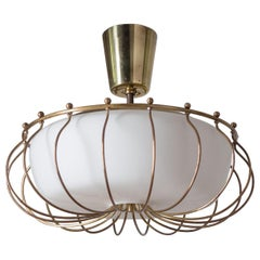 Ceiling Light, 1940s, Brass and Satin Glass
