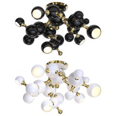 Ceiling Light in Black with Brass Detail