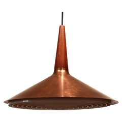 Ceiling Pendant in Copper and Teak of Danish Design from the 1960s