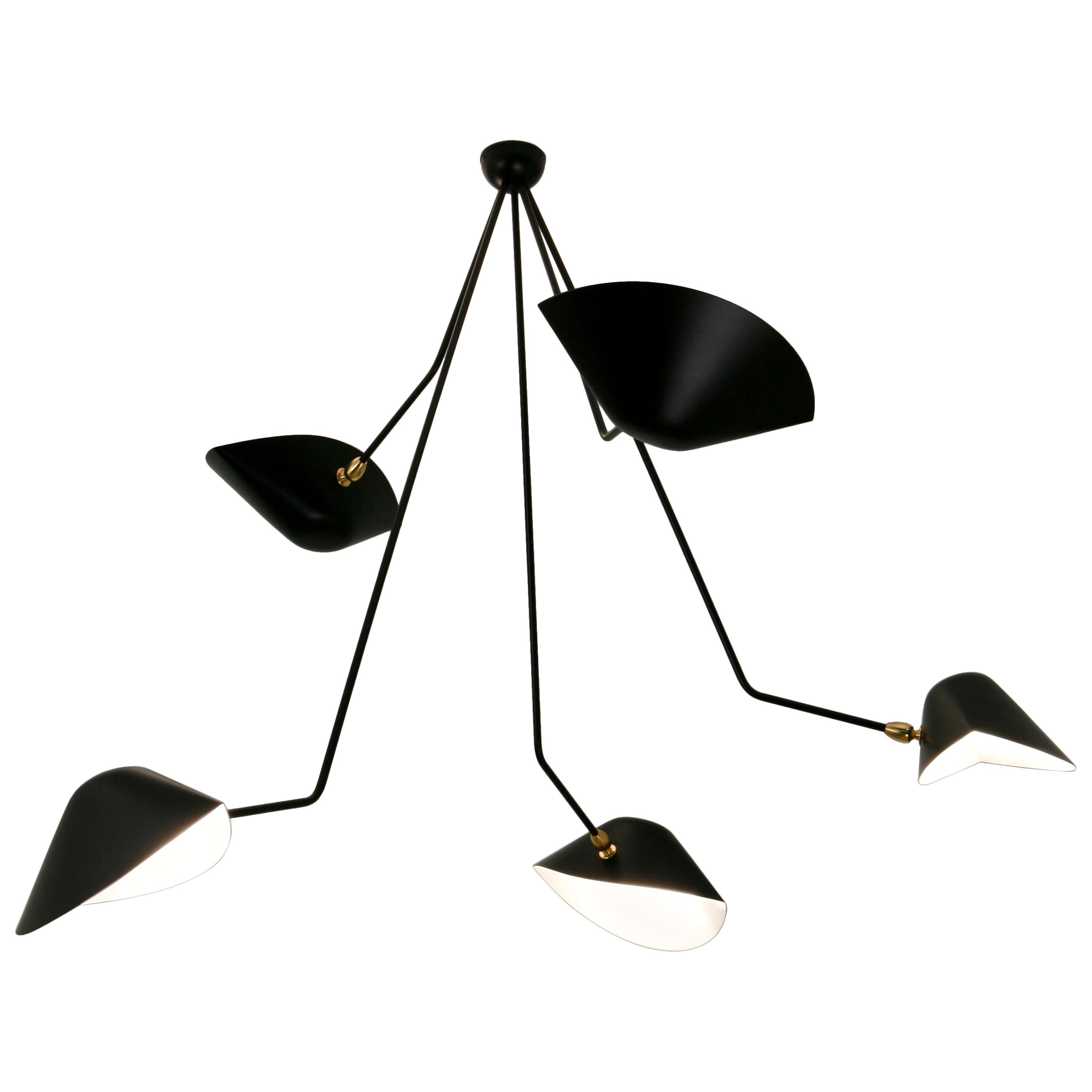 Ceiling Pendant Spider Lamp with Five Broken Arms by Les Editions, Serge Mouille