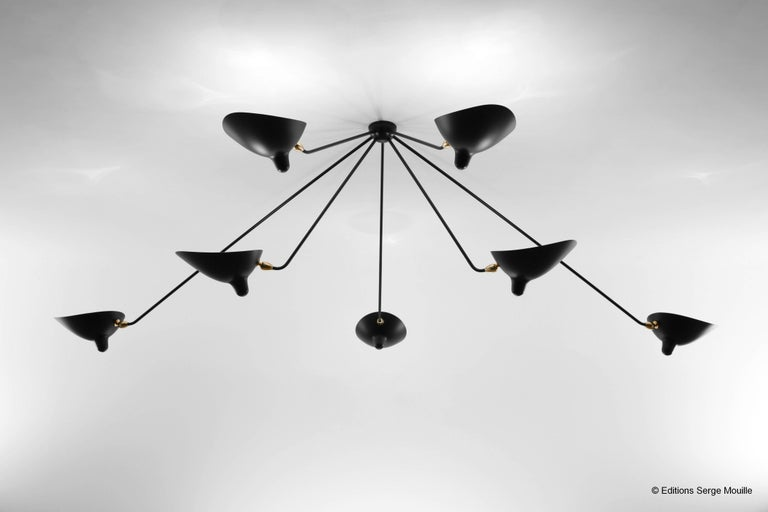 Ceiling Pendant Spider Lamp with Seven Fixed Arms by Les Editions, Serge Mouille In Excellent Condition For Sale In London, GB