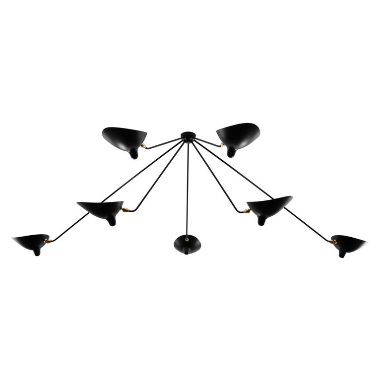 Ceiling Pendant Spider Lamp with Seven Fixed Arms by Les Editions, Serge Mouille For Sale