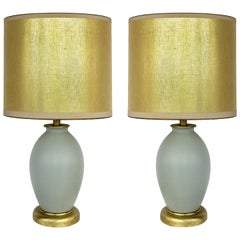 Celadon Ceramic Lamps with Shades and Brass Bases