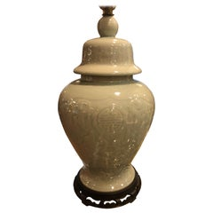 Celadon Ginger Jar Lamp with Pierced Wooden Base