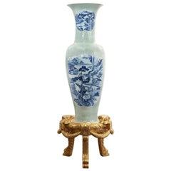 Celadon Glazed Porcelain Vase on Stand