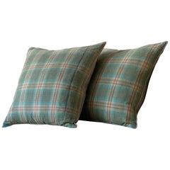 Celadon Green and Grey Plaid Madras Pillow