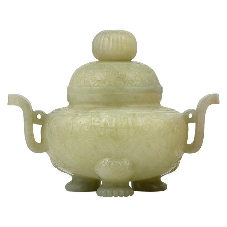 Celadon Jade Covered Bowl For Sale