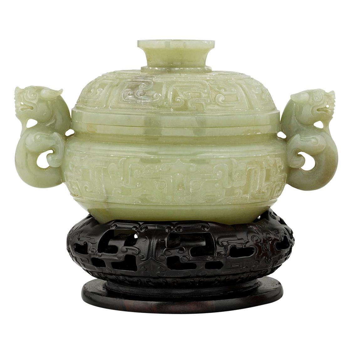 Celadon Jade Dragon Covered Bowl
