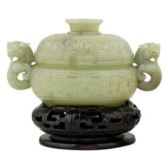 Celadon Jade Dragon Covered Bowl